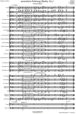 Australian Folksong Medley No. 1 – Concert Band Score and Parts