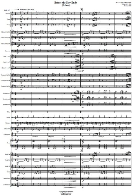 437 Before The Day Ends Concert Band SCORE page 01