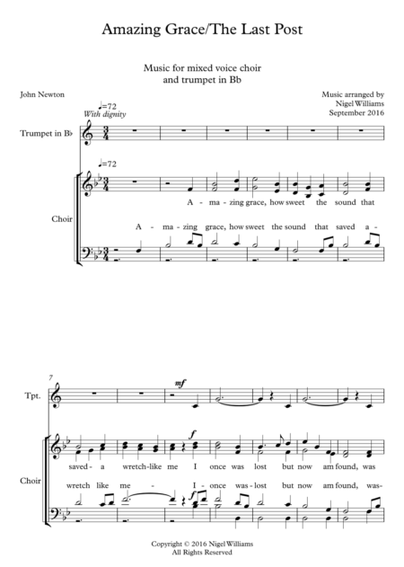 Amazing Grace, for choir, with solo trumpet,The Last Post