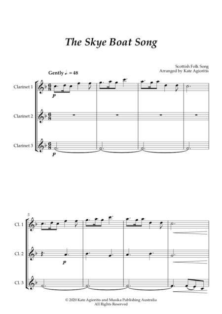Skye Boat Song Clarinet Trio