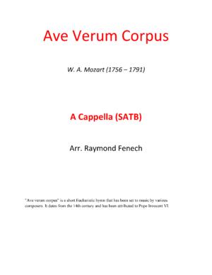 Ave Verum Corpus – W.A.Mozart – A Cappella (SATB)