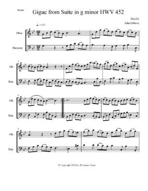 Handel – Gigue set for oboe and bassoon duet