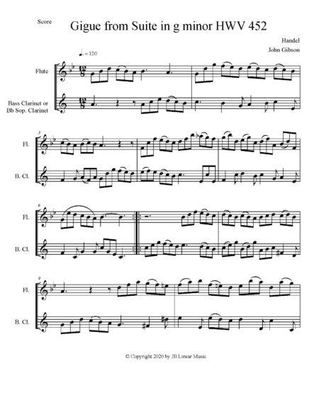 Handel gigue fl cl duet score page