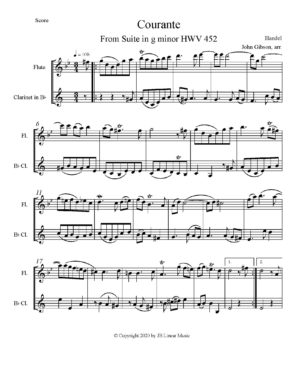 Handel – Courante set for flute and clarinet duet