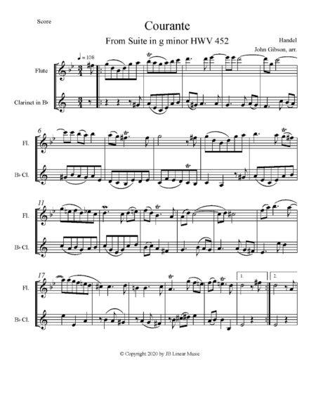 Handel Courante fl cl duet score page