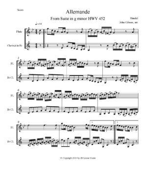 Handel Allemande set for flute and clarinet duet