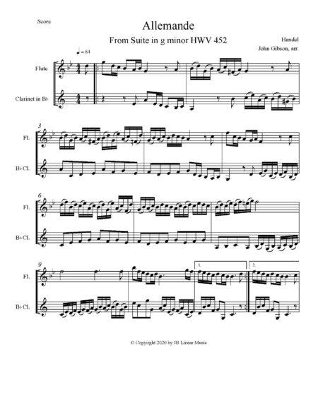 Handel Allemande fl cl duet score page