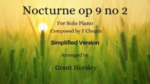 Nocturne op 9 no 2 (Famous) F. Chopin. Piano Solo (Simplified)