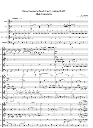 """Mozart:: Piano Concerto No.21 in C """"Elvira Madigan"""" K467 Mvt.II Andante – wind quintet"""