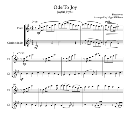 Ode To Joy (Joyful Joyful), Duet for Flute and Clarinet