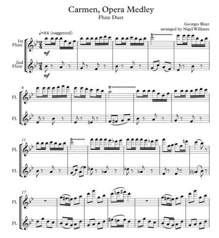 Carmen Opera Medley, for Flute Duet