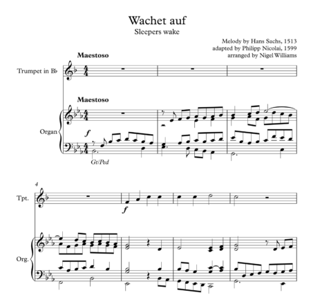Wachet Auf (Sleepers Wake), for Trumpet and Organ
