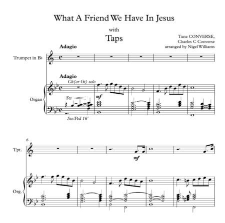 What A Friend We Have In Jesus, with Taps, for Trumpet and Organ
