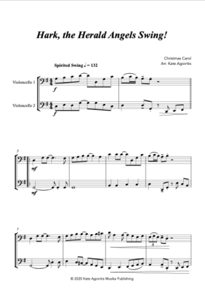 Hark the Herald Angels SWING! – for Cello Duet