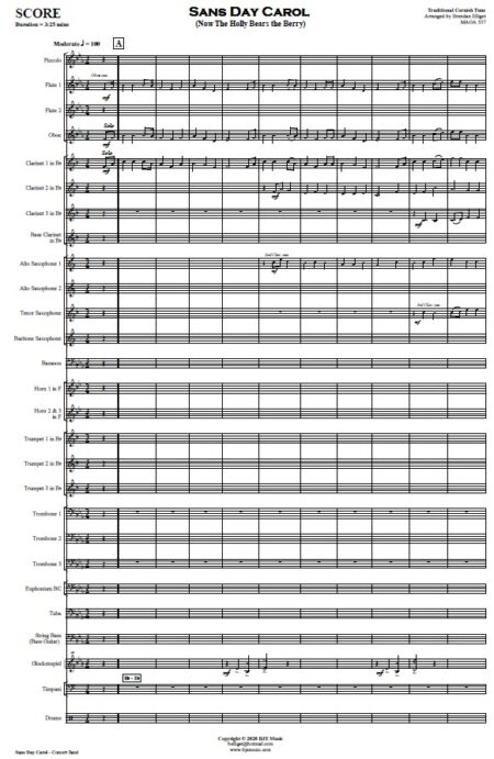 476 Sans Day Carol Concert Band SAMPLE page 01