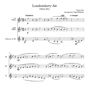 Londonderry Air (Danny Boy), for Woodwind Trio