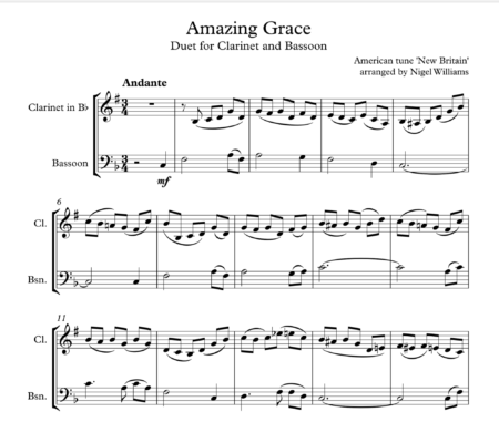 Amazing Grace, Duet for Clarinet and Bassoon