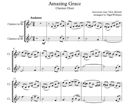 Amazing Grace, for Clarinet Duet