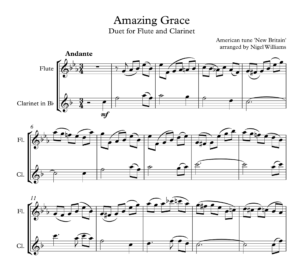 Amazing Grace, for Flute and Clarinet