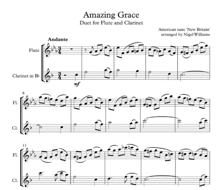 Amazing Grace, Duet for Flute and Clarinet