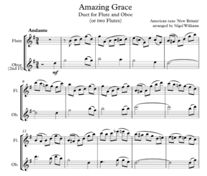 Amazing Grace, Duet for Flute and Oboe