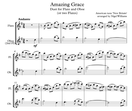 Amazing Grace, Duet for Flute and Oboe (or two flutes)
