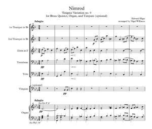 Nimrod, for Brass Quintet, Timpani and Organ