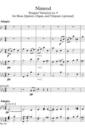 Nimrod, for Brass Quintet, Timpani and Organ