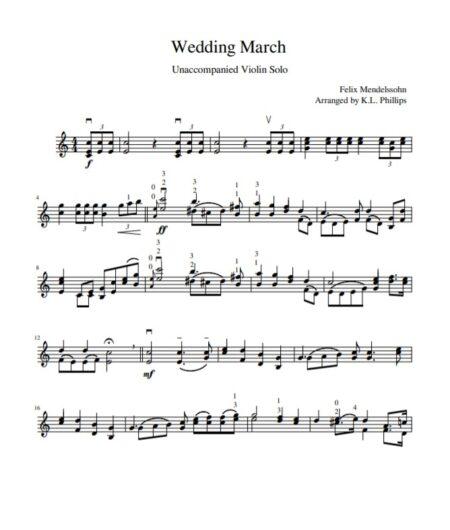 Wedding March Unaccompanied Violin Solo page 1 sample