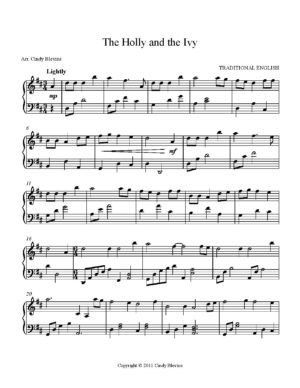 The Holly and the Ivy, Intermediate Piano Solo