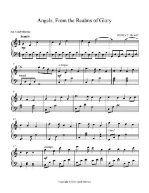Angels, From the Realms of Glory, Intermediate Piano Solo