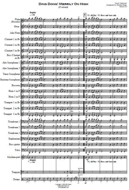 271 Dong Dong Merrily On High Concert Band SAMPLE page 01