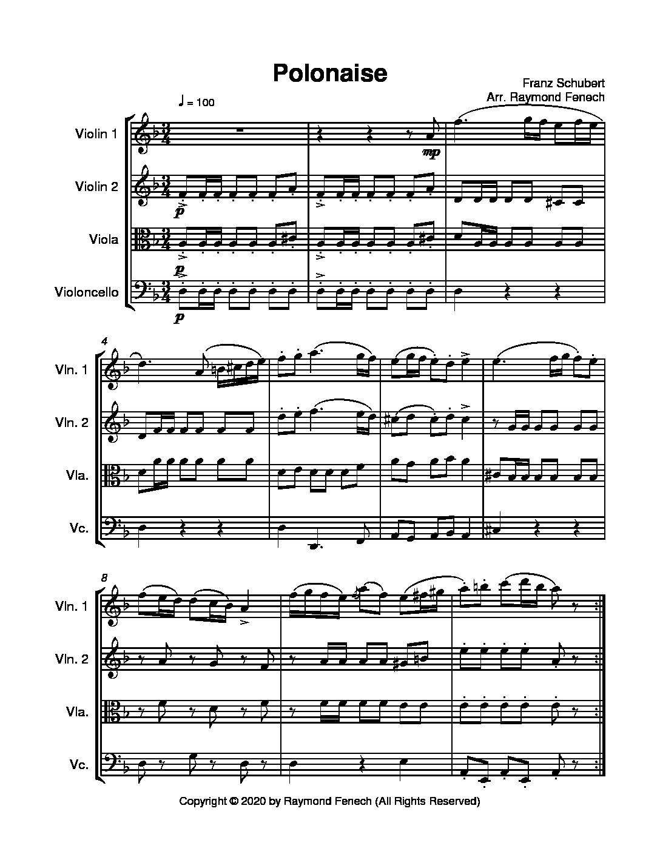 polonaise - f.schubert - string quartet - sheet music marketplace  sheet music marketplace