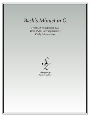 Bach's Minuet In G -Treble Eb Instrument Solo