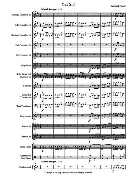 Yes Sir Brass Band Score pdf