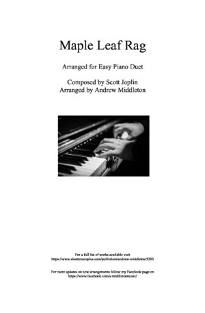 Maple Leaf Rag for Easy Piano Duet