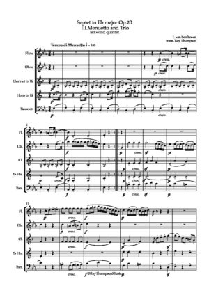 Beethoven: Septet in Eb Op.20 Movement.III Menuetto and Trio – wind quintet