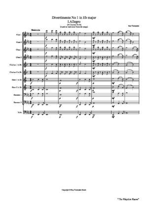 """Thompson: Divertimento in Eb No.1 """"Eine Klein TyneMusik"""" – symphonic wind dectet/bass"""