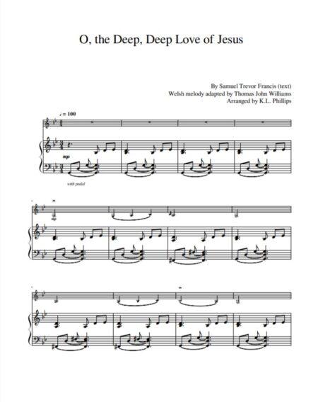 O the Deep Deep Love Sample page 1 piano part