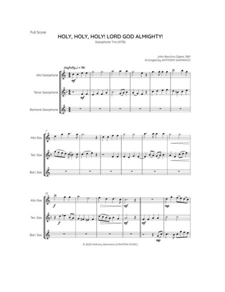 HOLY HOLY HOLY - sax trio