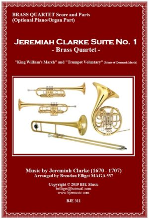 Jeremiah Clarke Suite No. 1 – Brass Quartet with Optional Organ