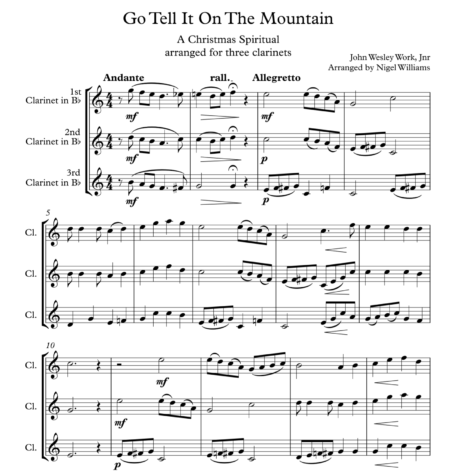 Go Tell it On The Mountain, for Clarinet Trio