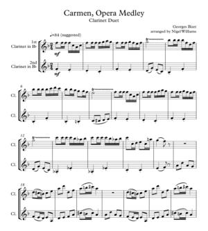 Carmen, Opera Medley, Duet for Clarinets