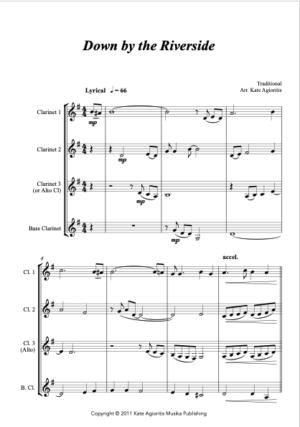 Down By The Riverside – Jazz Arrangement for Clarinet Quartet