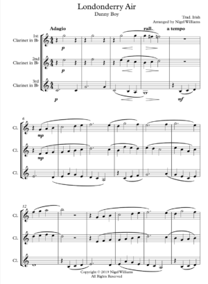 Londonderry Air (Danny Boy), for Clarinet Trio