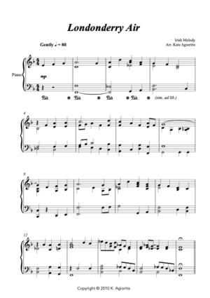 Londonderry Air (Jazz Arrangement) – for Solo Piano