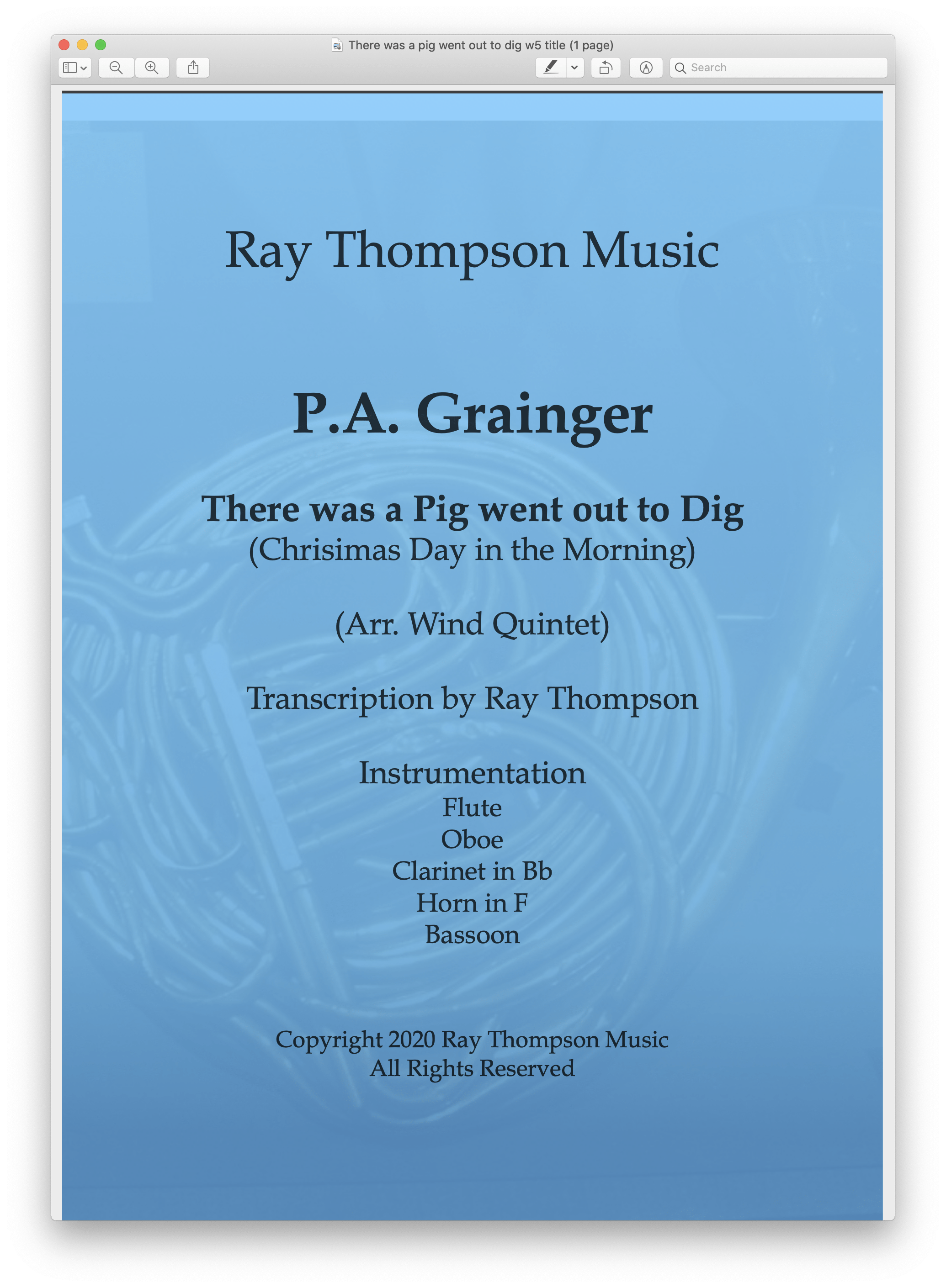 "Grainger: ""There was a pig went out to dig"" (""Chrisimas Day in the Morning"") – wind quintet"