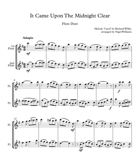 It Came Upon The Midnight Clear, for Flute Duet