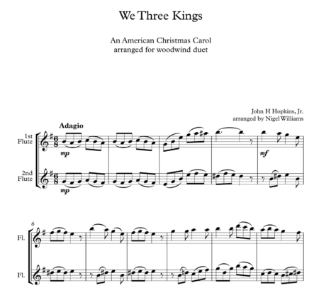 We Three Kings, for Flute Duet