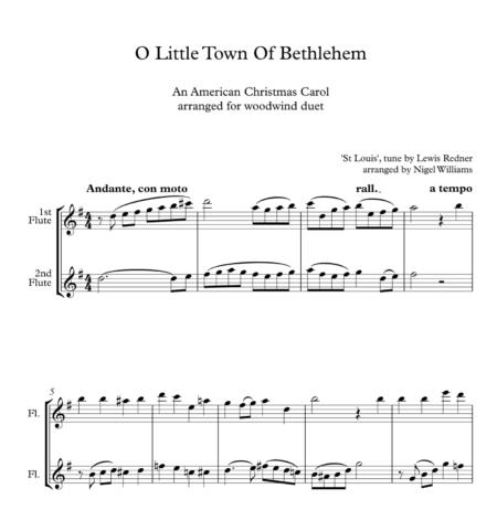 O Little Town Of Bethlehem, for Flute Duet